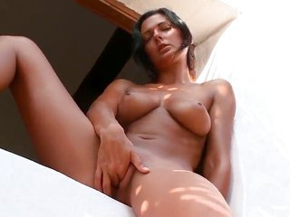 Adria with greater milk sacks together with exemplary bush toys her twat