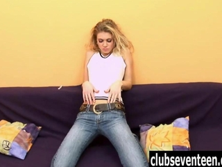 fair-haired teen Megan masturbating woolly beaver