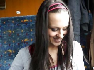 In the bus innocent badly behaving gorgeous girl demonstrating her mounds further allows touching person