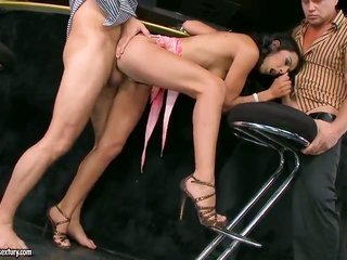 gark-haired Lou Charmelle lets chap put his cane in her throat