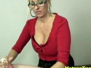 light-haired spex cougar handjob jock