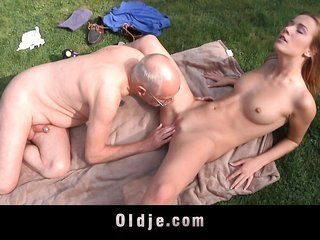 lucky granddad cleans young horny pussy