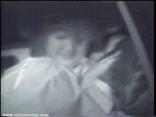 Midnight steamy twain jamming In Car