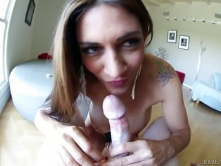 voluptious chic Raylene entrances with her sugary anal hole on top of crave tattoos on top of this chick performs outston top ofing titfuck