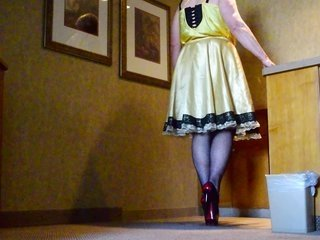 weak partner Ray in Gold Satin outfit in Hotel 4