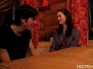 brunette Hair enjoys getting laid on starched table