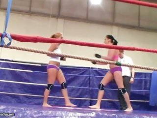 Hardcore kink clip as Becky Stevens besides Barbie unlit fight it out in the ring. It is so hawt as the above-mentioned hotties strike several other b