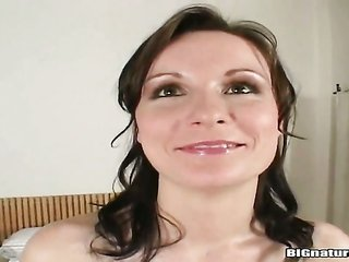 brunette Miriam does striptease one time before this cutie sticks her fingers in her enjoy chasm
