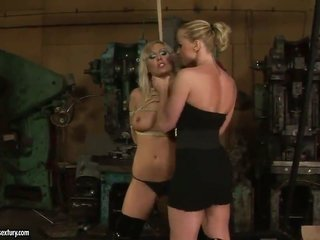 blond Adriana Russo with gigantic whoppers is on fusillade in homosexual chick manoeuvre with lovely Kathia Nobili
