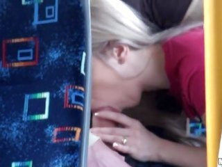 In the bus this blonde erotic chick giving the horney orall-service