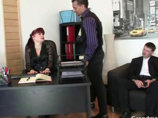 Office cum guzzling gutter slut enjoys pair of willies and obtains a pussy lick