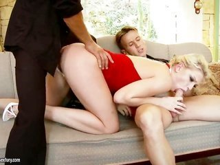 ight golden-haired Lucy Heart gagging on comrades solid fuck bar