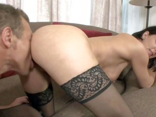 gloomy haired milf Roxanne Hall in shadowy nylon pantyhose wins her asshole licked and her muff buggered from behind. spot Roxanne Hall get hold of he
