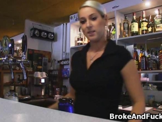 caning a curvy bartender at work because cash