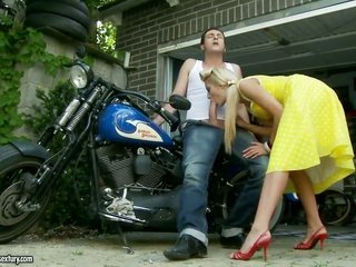 beautiful in addition to worthy golden-haired sweetheart Chary Kiss obtains her anal hole fucked near bike
