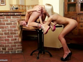 two adorable golden-haired ladies Bella Baby conjointly Pinky June playing with whole other