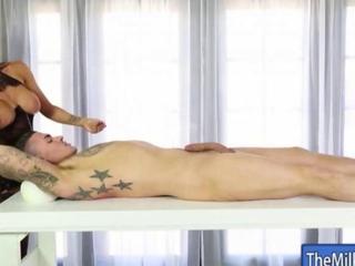 Glamour masseuse Romi Rain handjobs a hard ramrod