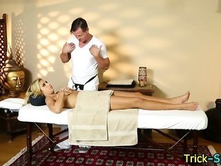 stimulating golden-haired babe rubbed