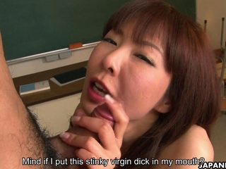 ambrosial asian sweetheart has sexual intercourse with three guys in the classroom