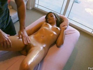 seductive sweetheart rides on boy's cock wildly ensuingly oil massage