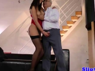British minor spanking old mans jock