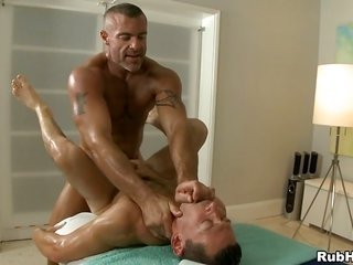 hot hunk is getting his manhood consumed by active masseur