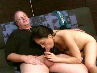 brunette graceful spanking then bj