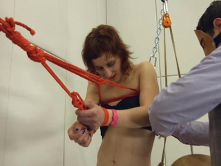 Crying female-dom acquires suspended by her cooter, paddled, on top of given chic to throat