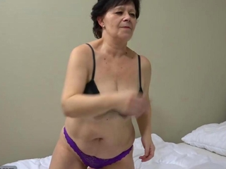 OldNanny Granny with pretty female masturbating cunt with ding-dong